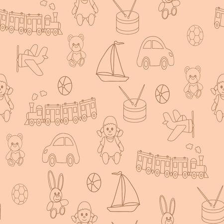 Seamless pattern with childrens toys. A vector picture for design with a doll, a ball, a bear, a hare, the engine, the car, the reel, the boat.