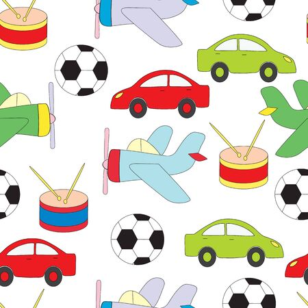 Seamless pattern with childrens toys for boys. Vektoranya a picture on a white background with the machine, plane, a ball and a drum. Illusztráció