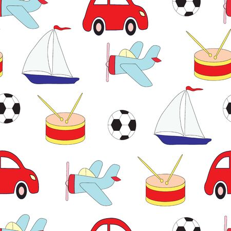 Seamless picture with toys for children with car, plane, the ship, a drum and a soccerball. A vector pattern on a white background