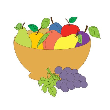 The isolated vase with fruit. A vector picture on a white background