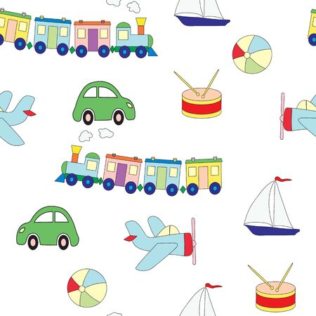 Seamless pattern with toys for the boy. A vector picture with plane, a drum, train, the car, a ball on a white background Illusztráció