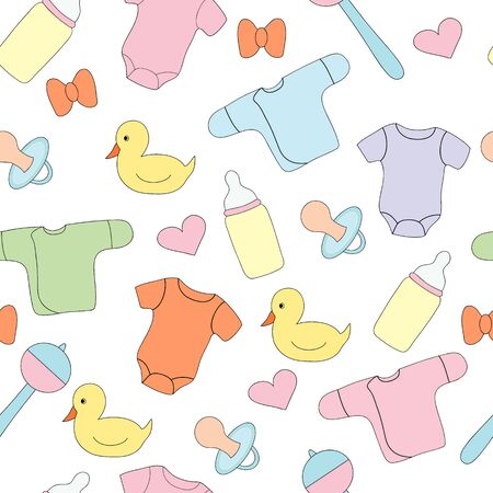 Seamless pattern with childrens things and toys on a white background. Vector picture, design print Illusztráció