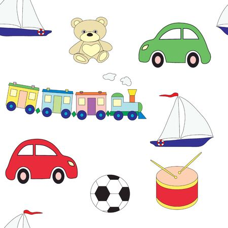 Seamless pattern with childrens toys for boys on a white background. Vector picture Illusztráció