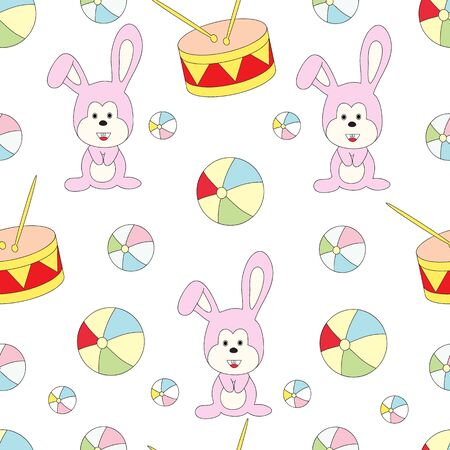 Seamless pattern with childrens toys on a white background. A vector picture with a hare, a drum, a ball.