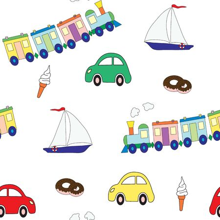 Seamless pattern with a set of toys for the boy and sweet. A vector picture on a white background. Design elements for a childrens print.