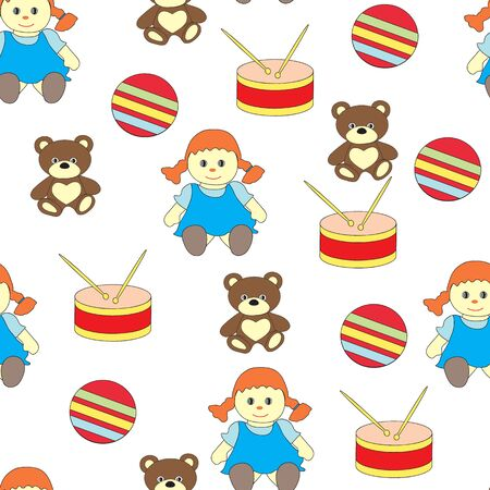 Seamless pattern with childrens toys for girls. The vector picture with a doll, drum, a bear and a ball. Illusztráció