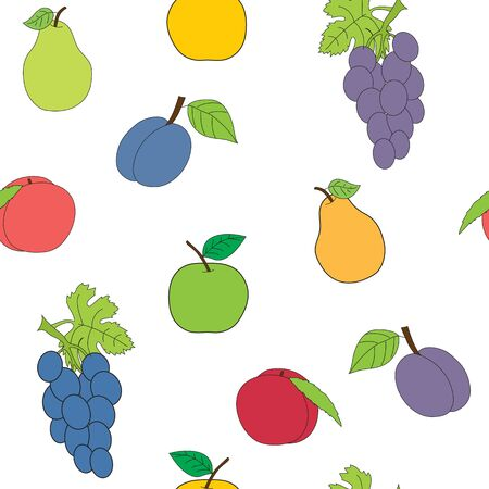 Seamless picture with a set of fruit. The vector drawing on a white background