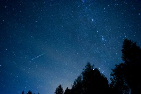 2016 년 페르세우스 유성우 샤워 스톡 콘텐츠