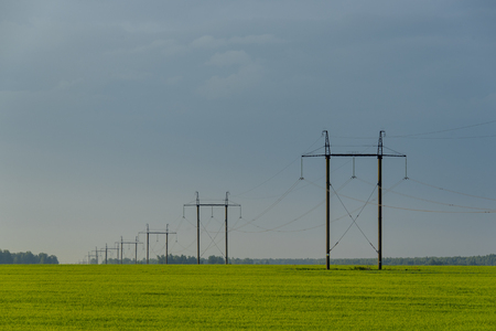 High voltage lines and power pylons in a flat and green agricultural landscape on at dawn