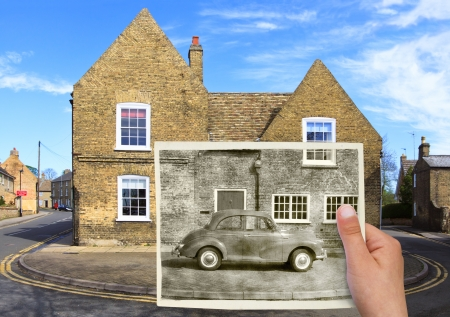 time passing concept, old car and house photo