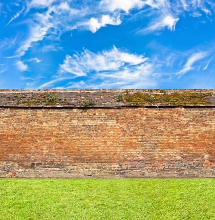 wall clouds:  brick wall horizontal endless seamless pattern