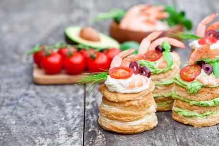salted puff pastry stuffed with cream cheese and prawns