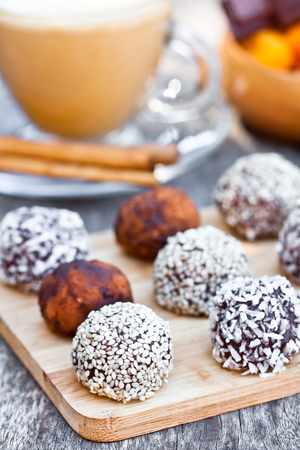stoned: Assorted  dark chocolate truffles with cocoa powder