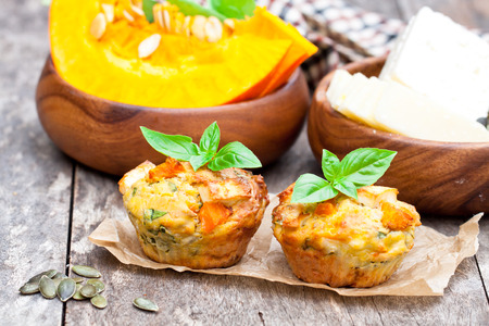 pumpkin  muffins with cheese and seeds