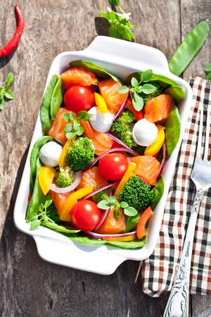 Tasty fried and grilled salmon slices on mixed colorful vegetables and mozzarella Stock Photo