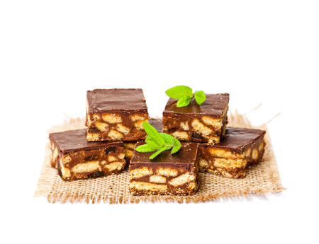 luxury  millionaires shortbread cookie with mint leaves isolated
