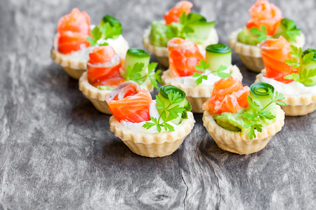 tartlets  with cream cheese and smoked salmon