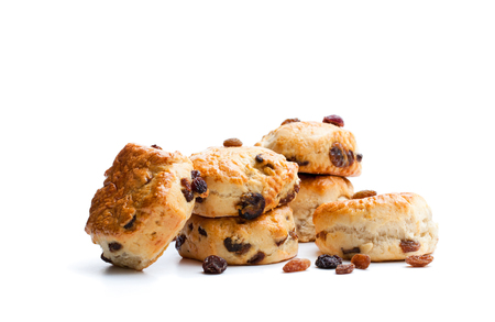 Homemade  sultana scones isolated on white