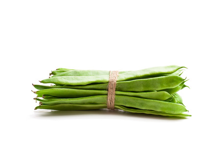 Bundle  of green beans isolated on white