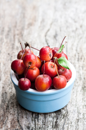 Fresh  wild apples in ceramic bowl on wooden table  Stock Photo