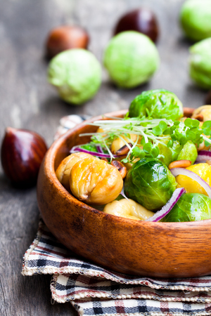 Christmas  meal with brussels sprouts and roasted chestnuts