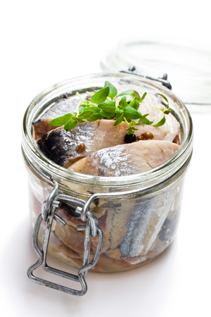 Pickled  herring isolated on white background  스톡 콘텐츠