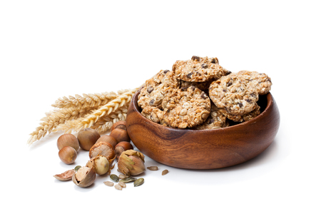 Healthy  protein granola crackers with seeds and nuts isolated on white