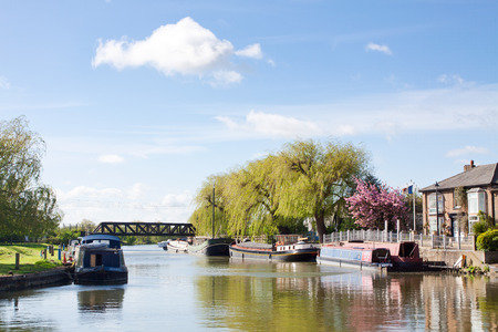 Great  Ouse riverside in sunny spring day