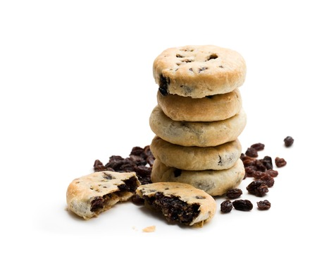 Stack  of Eccles cakes isolated on white