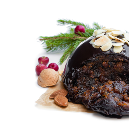 Homemade  Christmas pudding isolated on white