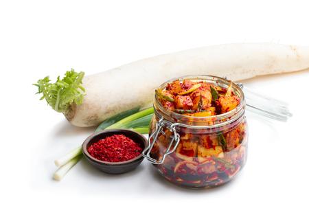 Daikon  radish kimchi korean food isolated on white