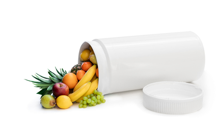 Swap your pills to a fresh fruits. Concept of nature made vitamin supplement from natural tropical fruits