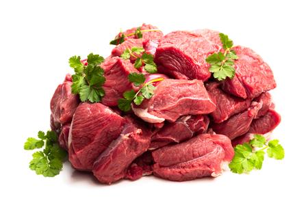 Filete de carne de cordero deshuesado con especias aislado en blanco