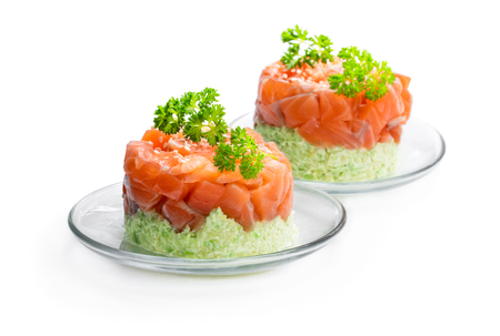 Salmon  tartare with avocado isolated on white Stock fotó
