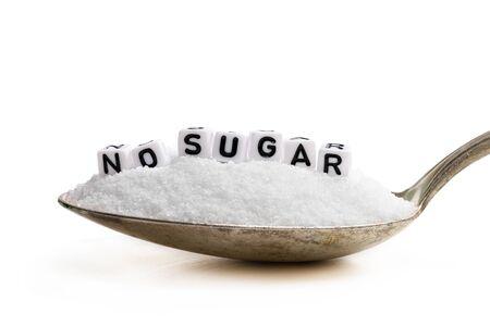 Spoon full of sugar substitute stevia. No sugar concept Stockfoto