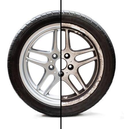 Bild eines alten, überholten Reifens, der das Konzept der Restaurierung oder Verbesserung vor und nach dem Zustand zeigt Standard-Bild