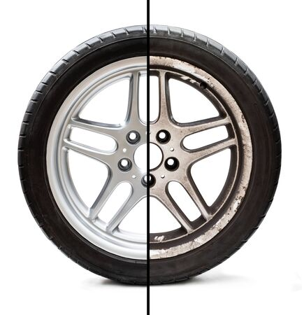 Image  of old refurbished tyre showing before and after conditions concept of restoration or improvement Фото со стока