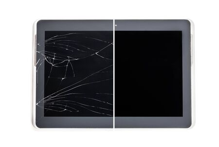 ?oncept  showing broken tablet screen vs tempered-glass protected Stock Photo