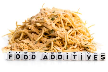 Concept showing appearance of the food additives in the everyday fastfood