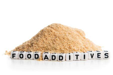 Concepto que muestra la apariencia de los aditivos alimentarios en la comida rápida diaria Foto de archivo