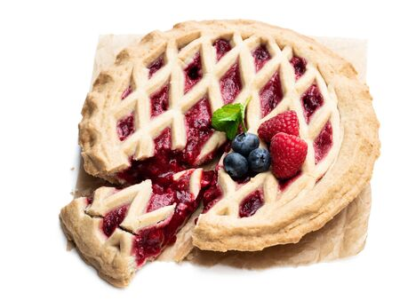 Homemade  whole berry tart isolated on white