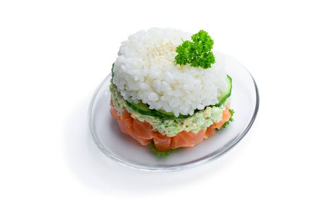 Salmon  tartare with avocado and rice isolated on white