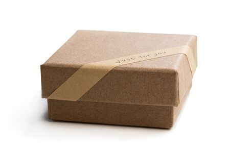 Homemade  open empty gift box made from brown paper isolated on white