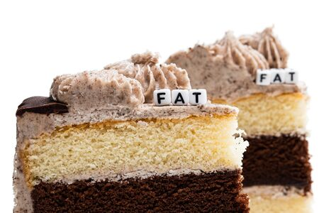 Concept  of unhealthy fat food. Pieces of layered sponge cake isolated on white
