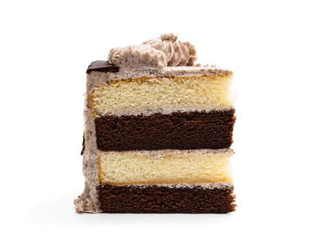 Piece  of layered sponge cake with cookie crumb isolated on white