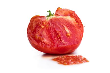 Process  of manual tomato seeds extraction isolated on white