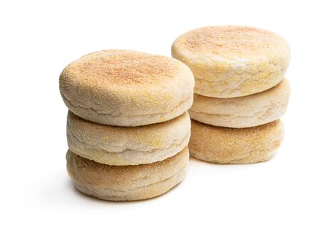 Freshly  baked English muffins isolated on a white