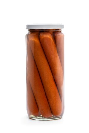Tinned  Hot Dogs in glass jar isolated on white  Фото со стока