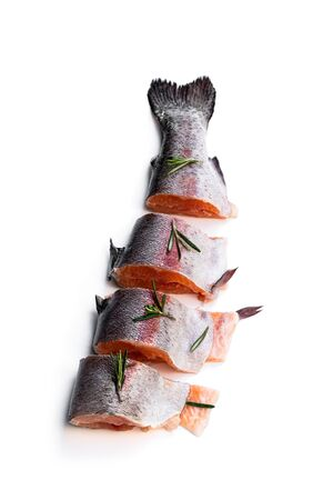 Fresh  raw  trout fish cut into slices with rosemary isolated on white