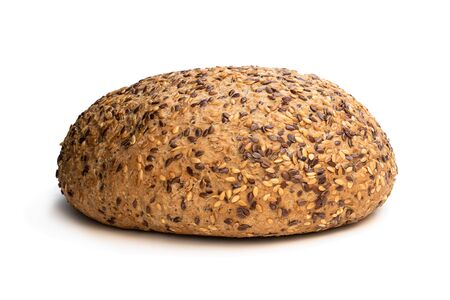 Gluten free multi seed bread with linseed isolated on white
